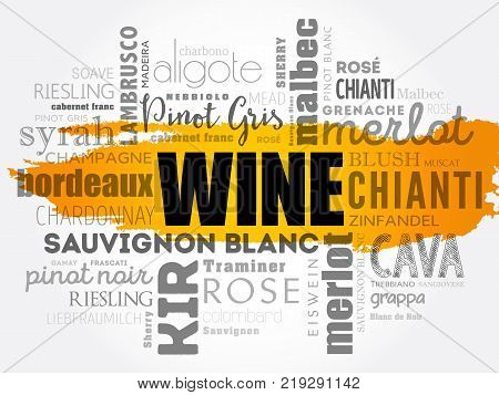 WINE Types word cloud collage concept background
