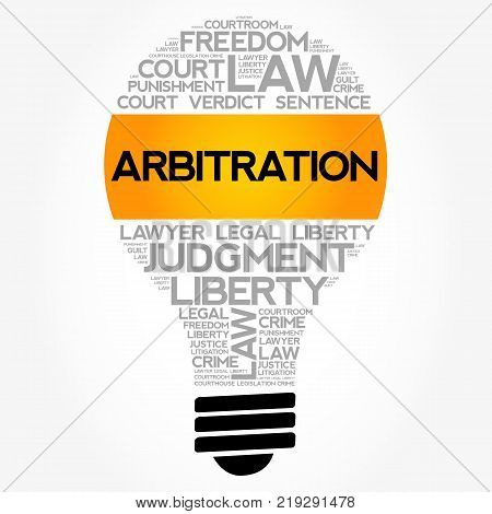 Arbitration Bulb Word Cloud Collage Concept Background