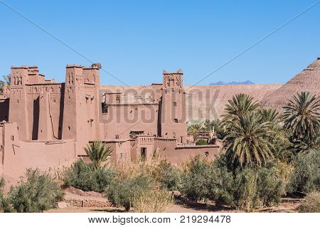 Panorama Of Ait Ben Haddou Casbah Near Ouarzazate City In Morocco, Africa.
