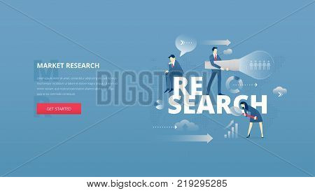 Vector illustrative hero banner of making market research. Research hero website header with young men and women characters moving around word 'research' over digital world map
