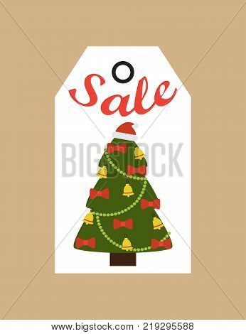 Sale promo tag with evergreen tree decorated by bells and bows, promo label in Christmas and New year concept vector illustration commercial cardboard