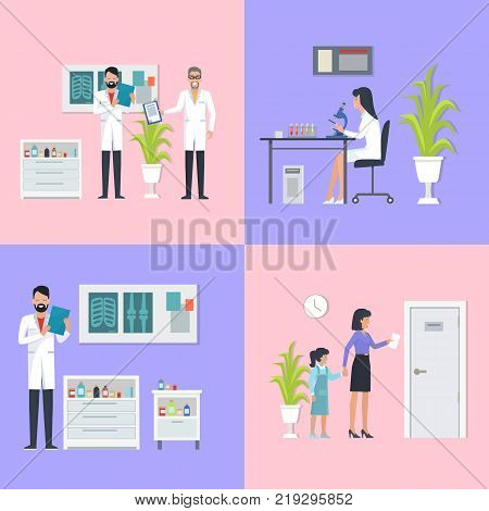 Doctors and laboratory assistant, specialist reading results of analysis and patients going on consultation, on vector illustration