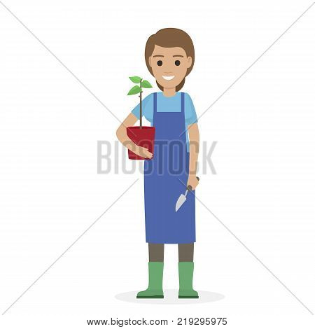 Happy gardener in blue apron and verdant gumboots holds green plant in red pot in one hand and garden shovel in other vector illustration.