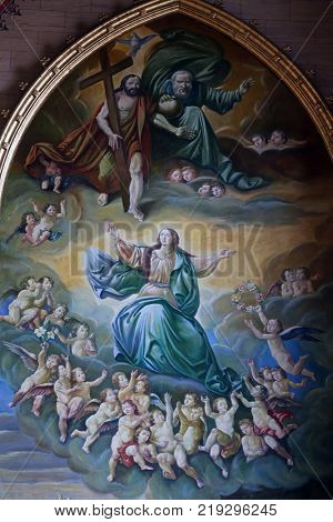 ZAGREB, CROATIA - APRIL 07: Assumption of the Blessed Virgin Mary, altarpiece in Zagreb cathedral dedicated to the Assumption of Mary in Zagreb, Croatia on April 07, 2015