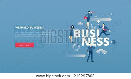 Vector illustrative hero banner of building business. Business hero website header with young men and women characters moving around word 'BUSINESS' over digital world map.