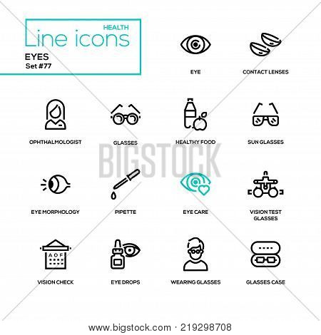 Eyes - line design icons set. High quality black pictogram. Contact lenses, ophthalmologist, healthy food, sunglasses, morthology, pipette, care, vision test glasses, check, drops, case