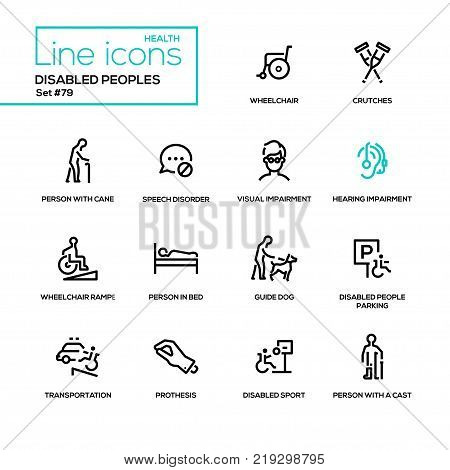 Disabled people - line design icons set. Wheelchair, crutches, person with cane, speech disorder, visual and hearing impairment, ramp, in bed, guide dog, parking, transportation, prothesis, cast