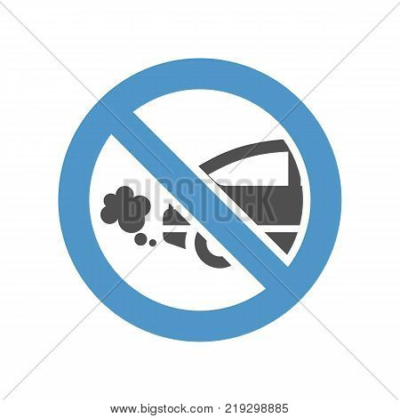 traffic fumes sign - gray blue icon isolated on white background