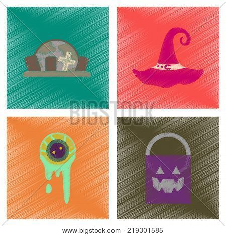 assembly flat shading style icons of halloween zombie eyes bag gravestone witch hat