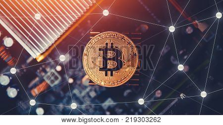 Bitcoin. Golden bitcoin on dark background. Concept Blockchain, cryptocurrencies
