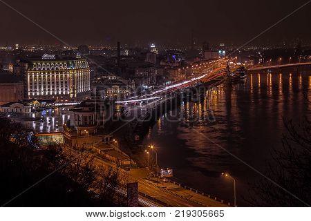 Night sight of Pochtovaya square and river Dnepr