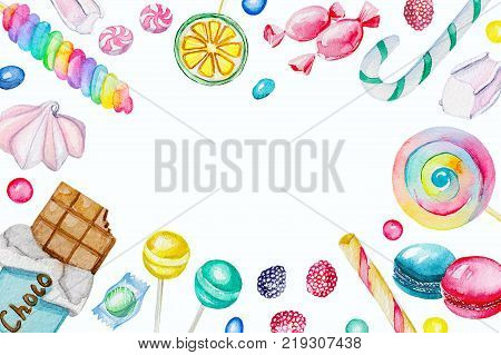 Watercolor rectangular frame of candies. Watercolor hand painted illustration