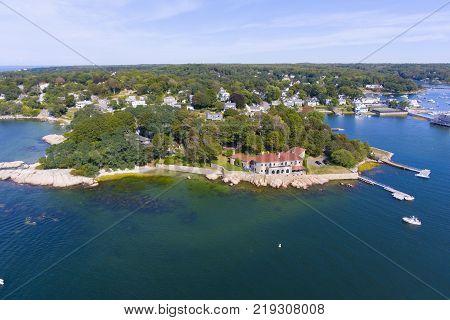 Annisquam village aerial view, Gloucester, Cape Ann, Massachusetts, USA.