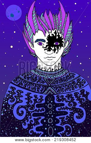 Fantastic starry knight, cartoon style character. Color page boho man shaman, for children and adults. Vector hand drawn illustration doodle fairy tales graphic art. Mystic fantasy boy coloring page.