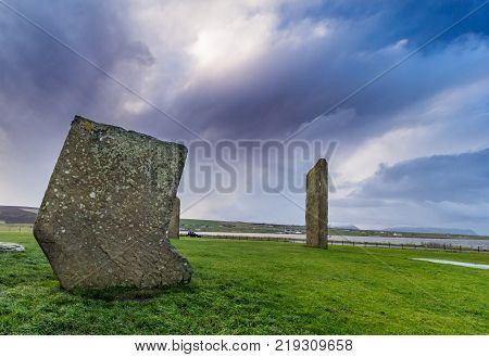Standing Stones of Stenness, Orkney, Scotland. A neolithic stone circle which is part of The Heart of Neolithic Orkney World Heritage Site