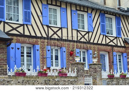 typical half timbered houses in Normandy France
