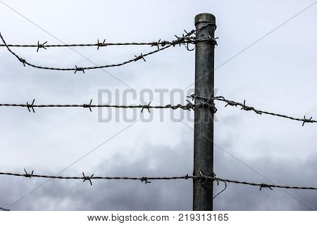 corroded barb wire with grey sky and clouds