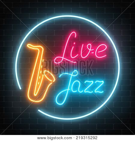 Neon jazz cafe with live music and saxophone glowing sign on a dark brick wall background. Glowing street signboard of bar with karaoke and blues singers. Vector illustration.