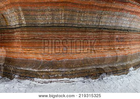 Underground Multicolor Background Fragment Of Wall In Potassium And Sodium Salts