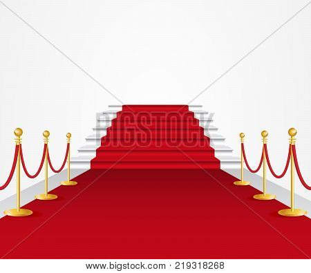 Red carpet with rope railing. Ceremony, formal occasion, awards. Fame concept. Can be used for greeting cards, posters, leaflets and brochure