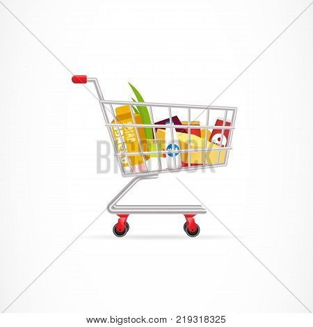 Shopping cart with products. Buying, routine, food and drink, trolley. Supermarket concept. Can be used for greeting cards, posters, leaflets and brochure
