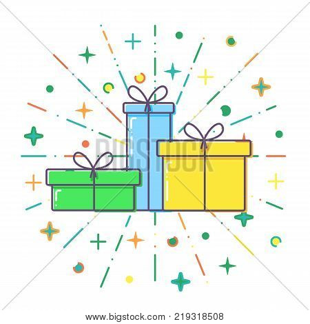 Flat line concept Gift boxes vector illustration.