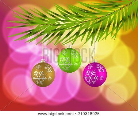 Christmas background with colorful balls. Christmas card. Christmas greeting.