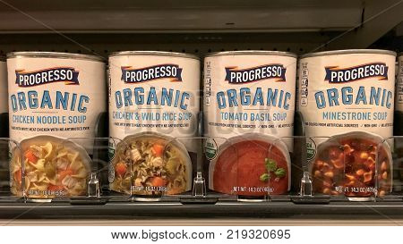 Alameda CA - November 09 2017: Grocery store shelf with containers of Pacific brand organic soups. Pacific Brand advertises Healthy Organic Food made from simple ingredients.