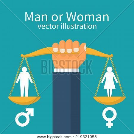 Gender equality concept. Man holds balance in hand. Vector illustration in flat style design. Male or woman silhouette pictogram. Gender icon.