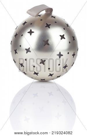 Silver Christmas ball with stars isolated on white