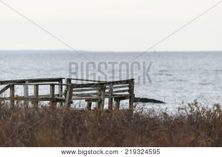 Dilapidated dock on bluff overlooking Buzzards Bay