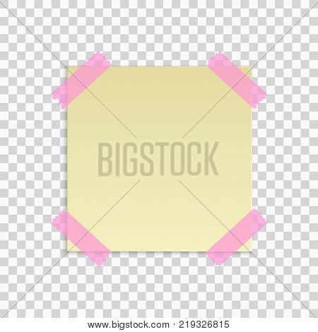 Yellow sticky note isolated on transparent background. Office note. Pink scotch tape. Template for your project. Vector illustration.