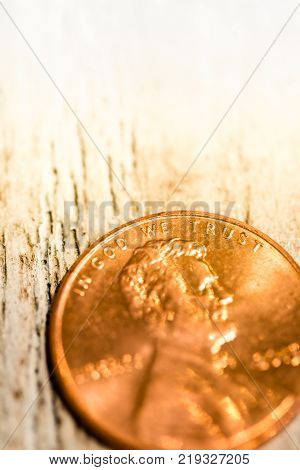 Macro Closeup Of Copper Penny On Background