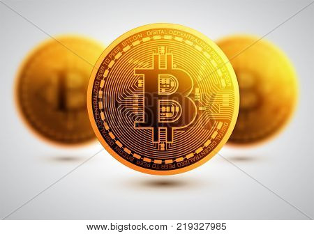 Bitcoin. Physical bit coin. Digital currency.  Golden coin with bitcoin symbol. Vector illustration. Mining or blockchain technology for cryptocurrency.