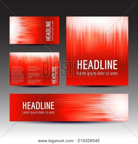 Set of gradient backgrounds in red colord, vector templates