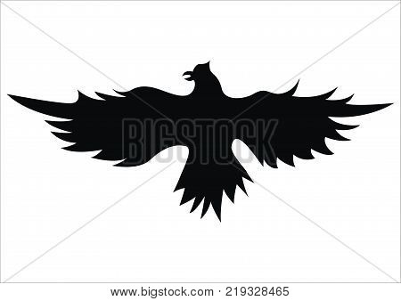 illustration silhouette emblem flying bird flapping wings
