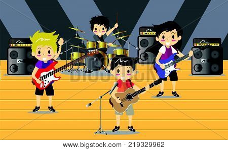 Musicians and Mucical Instruments Rock music group with musicians concept of artistic people vector illustration. Boy Group Play guitar Singer guitarist drummer solo guitarist bassist characters performs on stage. Rock star.