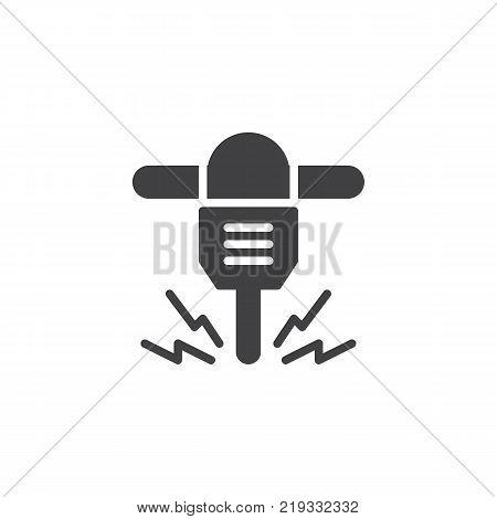 Jackhammer icon vector, filled flat sign, solid pictogram isolated on white. Hydraulic breaker symbol, logo illustration