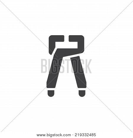 Tongs pliers, pincers icon vector, filled flat sign, solid pictogram isolated on white. Symbol, logo illustration
