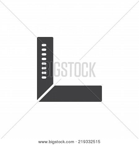 Degree square ruler icon vector, filled flat sign, solid pictogram isolated on white. Setsquare tool symbol, logo illustration