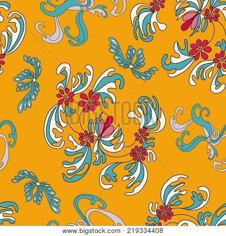 Beautiful Flowers On An Orange Background Seamless Pattern