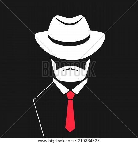 A man with a beard in a hat, tie. Logo for barbershop, men's store.