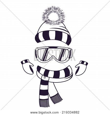 Protective glasses for skiing. Goggles A set of winter clothes a snow hat with a pompon, a striped scarf and mittens
