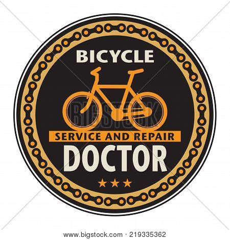 Stamp with bicycle and the words Bicycle Doctor vector illustration