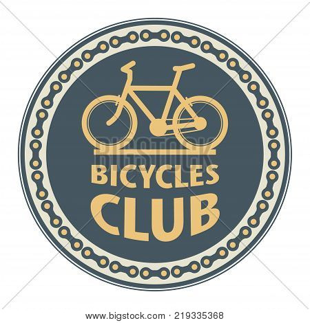 Stamp with bicycle and the words Bicycles Club vector illustration