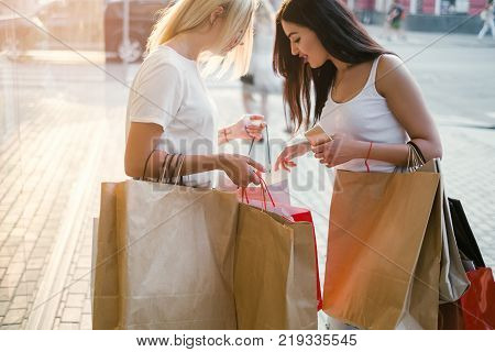 women go shopping to buy new things. purchases concept. Girls happiness. Fashion passion.