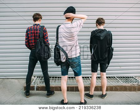 street gang hooligans. teenage bffs gone bad. youth criminals and law offenders concept