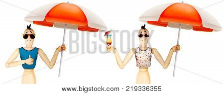 Funny character in t-shirt and sunglasses holding umbrella with cocktail. Summer holidays, travel vacation concept. Realistic 3D illustration.