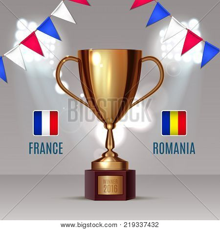Soccer cup, Euro 2016 France, football championship, match France Romania gold cup on soccer field with football light and garland color of France eps 10