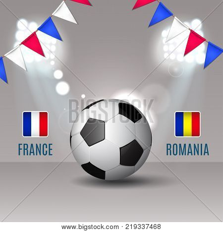 Soccer cup, France, 2016 football championship, match France Romania soccer ball with football light and garland color of France eps 10